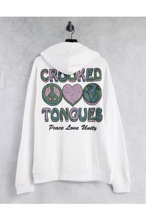 Crooked Tongues Hoodie with peace print in white