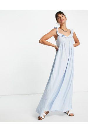 VILA Maxi beach dress with ruffle shoulder in blue
