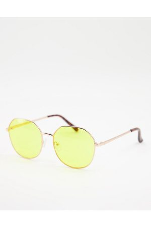 Jeepers Peepers Womens round sunglasses with yellow lens in gold