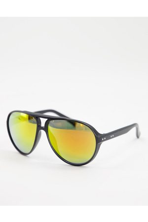 Jeepers Peepers Unisex aviator sunglasses in black with orange lens
