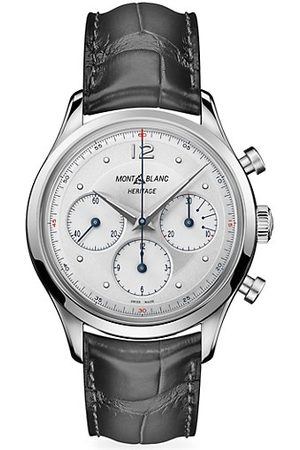 Mont Blanc Heritage Stainless Steel & Black Alligator-Strap Chronograph Watch