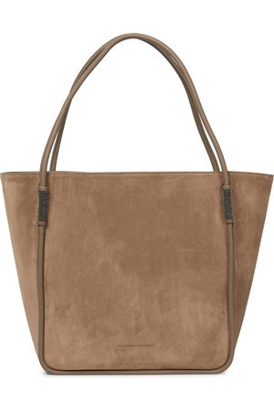 Brunello Cucinelli Softy Medium leather-trimmed tote