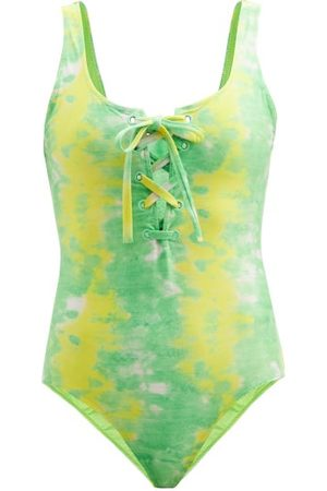 Ganni Women Swimsuits - Abstract-print Recycled-fibre Jersey Swimsuit - Womens - Multi