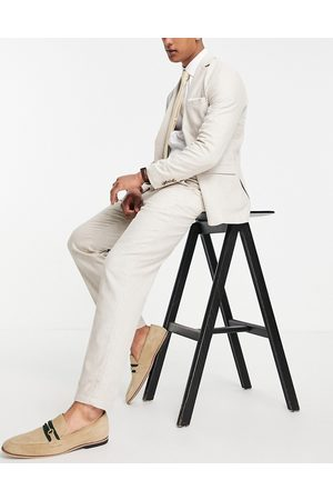 SELECTED Slim tapered linen-blend suit pants in beige-Neutral