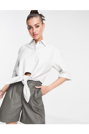 Muubaa Isabelle tie front crop leather shirt in white