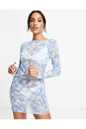 ASOS Mesh long sleeve beach mini dress in retro swirl floral print-Multi