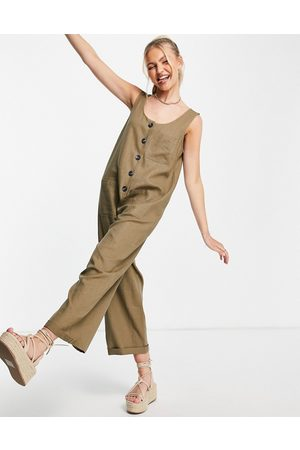 Topshop Lightweight button-through jumpsuit with pockets in khaki-Green