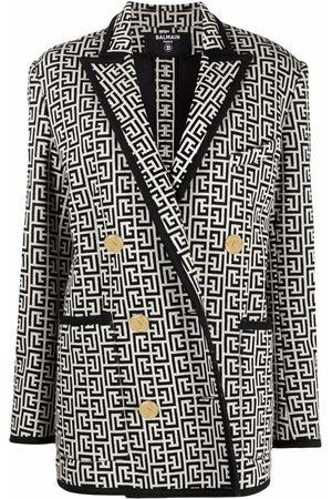Balmain Women Blazers - Monogram jacquard knit blazer