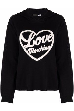 Love Moschino Women Hoodies - Embroidered-logo hoodie