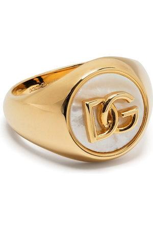 Dolce & Gabbana Men Rings - Logo-plaque pearl-detail ring