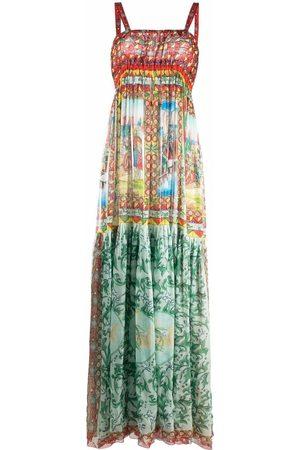 Dolce & Gabbana Women Maxi Dresses - Carretto-print long chiffon dress