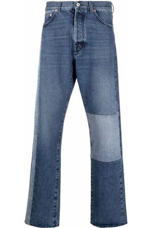 VALENTINO Men Straight - Patchwork-detail straight-leg jeans