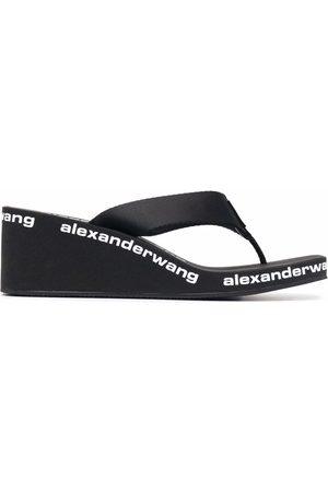 Alexander Wang Women Wedges - Logo-print wedge sandals