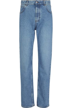 Loewe Women High Waisted - Anagram leather-trimmed tapered jeans