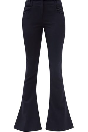 Balmain Low-rise Flared Wool-twill Tailored Trousers - Womens - Navy