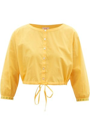 LE SIRENUSE, POSITANO Jinny Hand-embroidered Cotton-poplin Cropped Top - Womens