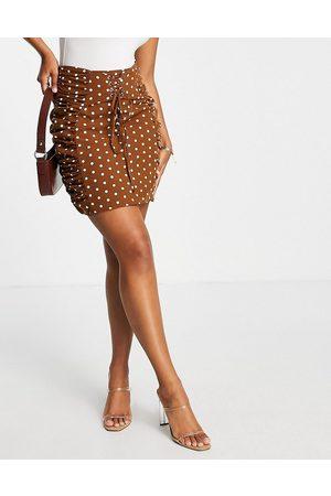 Rare Fashion London lace up mini skirt co-ord in brown polkadot