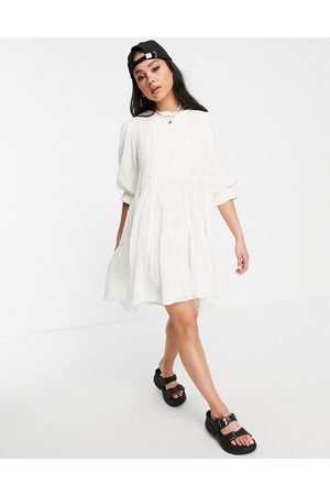 Object Embroidered tiered mini dress in white