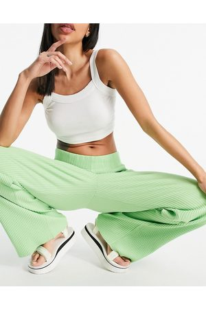 Weekday Katherine organic cotton ribbed pants in green co-ord