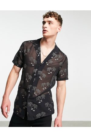 ASOS Deep revere shirt in sheer with sparkle palm print-Black