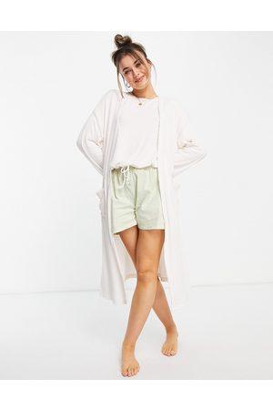 ASOS Mix & match lounge super soft rib midi robe in ecru-White
