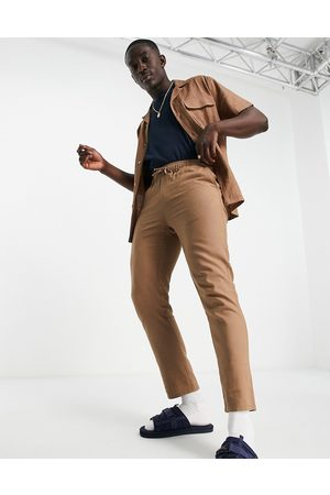 ASOS Co-ord linen mix slim pants with elasticated waist in brown