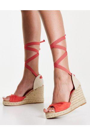 New Look Tie up espadrille wedge heel sandals in coral-Orange