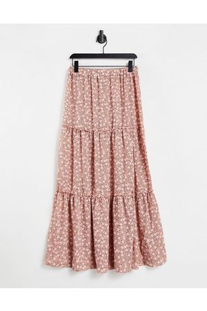 ASOS Tiered maxi skirt with thigh split in pink floral print-Multi