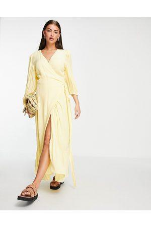 Gestuz Uriel printed midi wrap dress in yellow-Multi