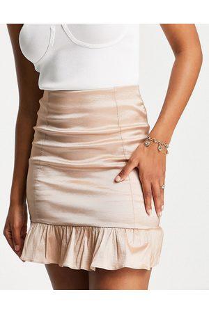 Rare Fashion London mini skirt with taffeta ruffle hem co-ord in taupe-Brown