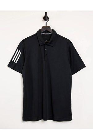 adidas 3 stripe polo shirt in black