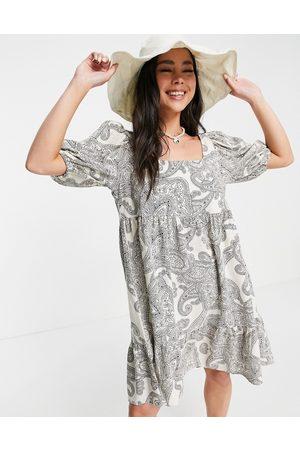 Object Mini smock dress in paisley print-White