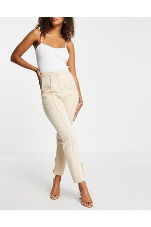 Rare Fashion London cigarette pants co-ord in cream-White