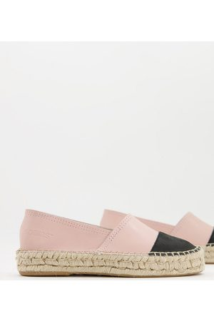 Solillas Exclusive leather flatform espadrilles with black toe cap in blush-Pink