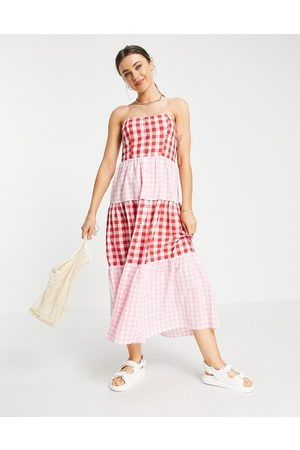 ASOS Bandeau tiered midi sundress in mixed gingham-Multi