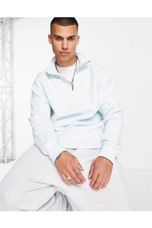 Topman Co-ord half zip sweatshirt in blue