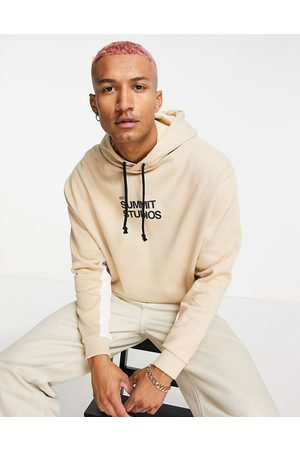 ASOS Co-ord oversized hoodie in blocking with summit studios print-Neutral