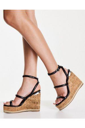 Schuh Valentina wedge espadrille sandals in black