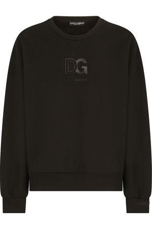 Dolce & Gabbana Men Sweatshirts - 3D DG logo-patch crew-neck sweatshirt