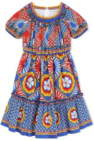 Dolce & Gabbana Girls Printed Dresses - Carretto print midi sundress
