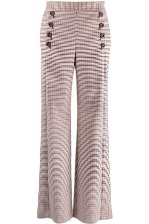 See by Chloé Check-print buttoned flared trousers