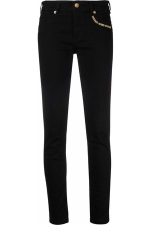 VERSACE Women Skinny - Embroidered-logo slim fit jeans