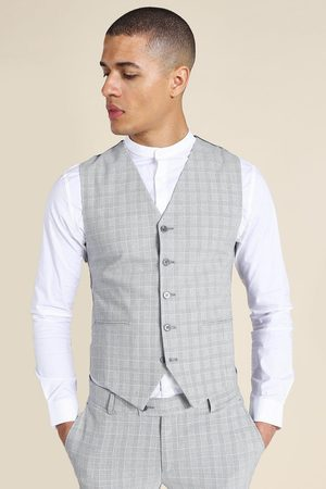 Boohoo Mens Super Skinny Check Single Breasted Waistcoat