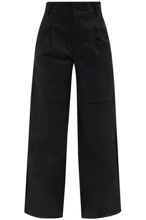 Moncler Women Cargo Pants - High-rise Cotton Wide-leg Trousers - Womens