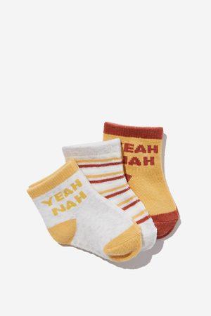 Cotton On Kids 3Pk Baby Socks - Honey gold yeah nah