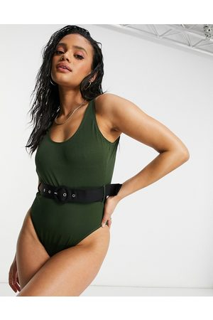 warehouse Textured belted swimsuit in -Green