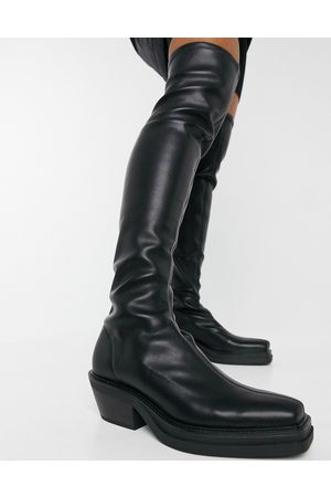 Pull & Bear Pull on stretch high leg boots in