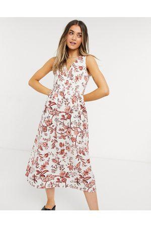 Oasis Midi dress with full skirt in empire print
