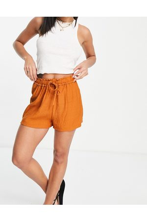Missguided Paperbag shorts with drawstring waist in rust
