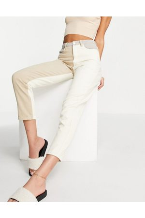 Missguided Riot jean with neutral patch detail in -White